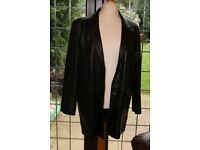 MEN'S 3/4 LENGTH XL BLACK LEATHER COAT