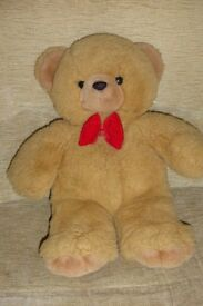 Cuddly Peeko Teddy Bear Cuddly Toy with Red Bow Tie, 18 inches tall, Histon