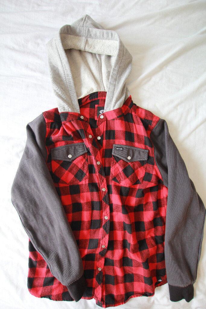 Hooded checked shirt, animal
