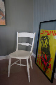 White painted solid wood kitchen chair