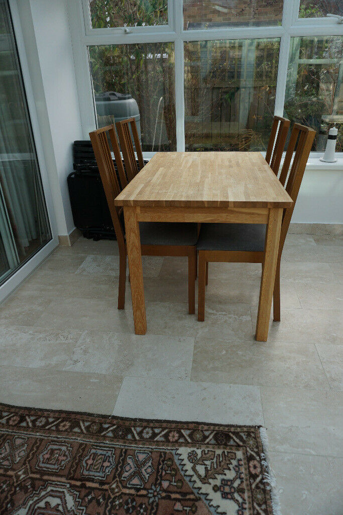 small solid wood ikea kitchendining table with 4 chairs