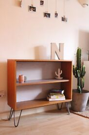 Stunning Vintage 1970's Danish bookcase/cabinet on industrial hairpin legs.