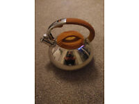 Whistling kettle - steel and wood effect - great condition.