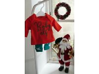 Tiny baby 'Baby Elf' Christmas pyjamas PJs