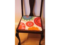 Wooden chair with funky upholstered seat
