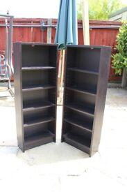 2 black wood effect storage units