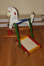 Wooden rockin horse and walker