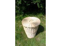 Bathroom wicker basket with lid