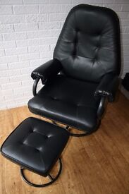 Black reclining chair with stool
