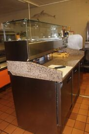 polar refrigerated,3 doors pizza and salad counter display