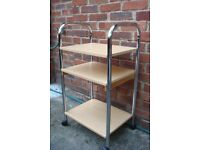 3 SHELF TROLLEY ON CASTERS WITH CHROME FRAME