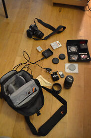 Canon 600D.Used,in good condition. Lowepro bag, 18-55mm & 55-250mm lens, & filters, charger,& remote