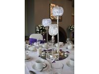 Crystal Ball Centrepiece Hire £10 LED LOVE Sign £200 Gold Throne Hire Silver Beaded Charger Plate