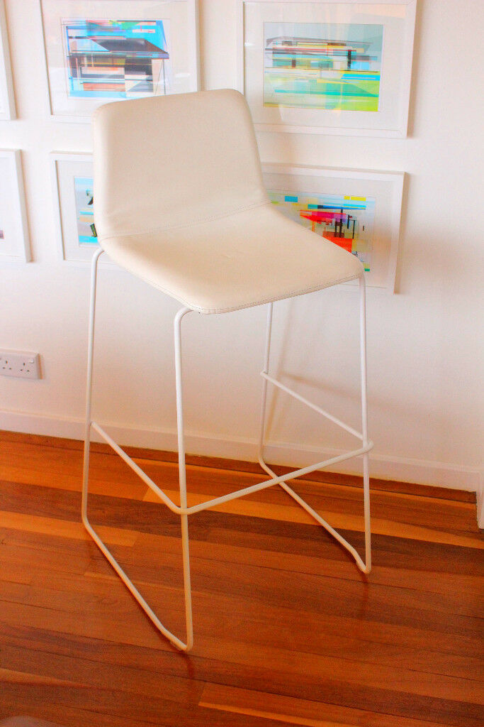 Awesome 738 New Designer White Leather Stool Naughtone Similar To Herman Miller Starck Vitra In Crystal Palace London Gumtree Caraccident5 Cool Chair Designs And Ideas Caraccident5Info