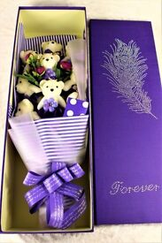 Beautiful 2 foot tall Gift Boxed Teddies & Roses