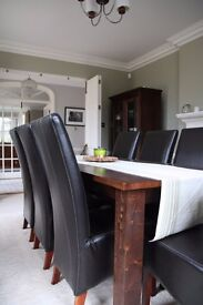 8 x Great Quality GENUINE Brown Leather Dining Chairs. Available as full set or in pairs (£80/pair)