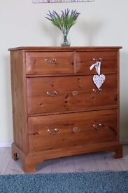 LARGE QUALITY MADE SOLID PINE 4 DRAWER CHEST WAXED FINISH - CAN COURIER