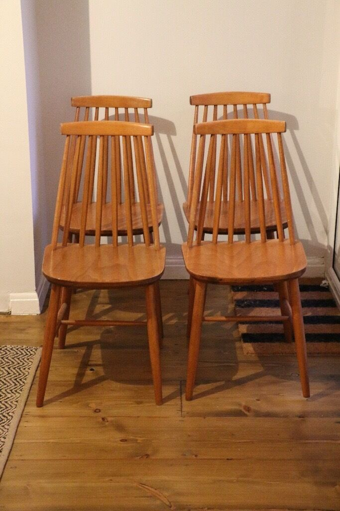 4 x vintage ercol style spindle back wooden dining chairs in