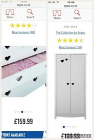 Girls white Mia Heart bedroom furniture from Argos