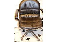 Heavy black leather office chair £45