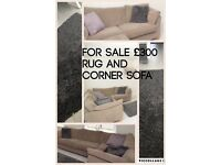 Next corner sofa (taupe)and grey Ikea rug for sale £300
