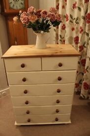 cream solid pine chest of drawers