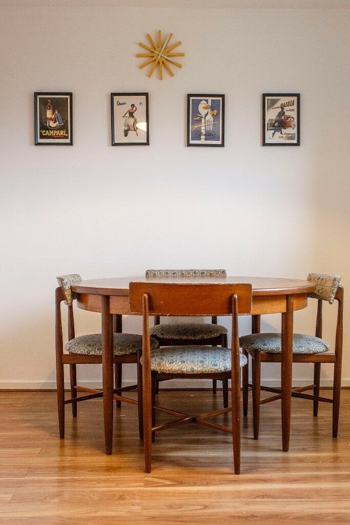 Classy And Elegant Round Vintage G Plan Dining Table Set Plus Four Chairs