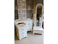 Beautiful 3 piece soft white bedroom suite, dressing table, bedside chest & cheval mirror