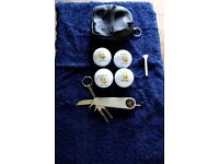 4 St Andrews Golf balls in presentation case plus towl, tee's' and golf tool