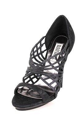 Badgley Mischka Sailor Black Heel Sandal Shoes Rose Print Leather & Satin NEW - Sailor Heels