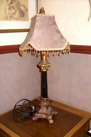 """TABLE LAMP GOLD AND BLACK 29"""" HIGH MARBLE EFFECT STEM"""