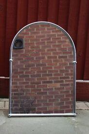 Mirror with chrome frame