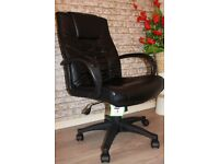 PADDED COW SPLIT LEATHER HIGH BACK OFFICE CHAIR - BLACK