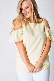 Plus Cold Shoulder Top in Sweet Yellow