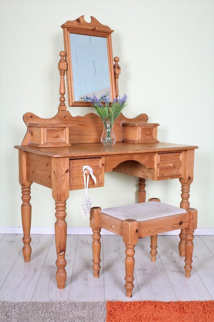 DELIVERY OPTIONS - BEAUTIFUL RUSTIC WAXED PINE DRESSING TABLE, MIRROR & STOOL