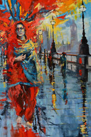 """London butterfly"", an original oil painting by Barbara Pokryszka."