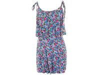NEW Ladies Knot Tie Thin Strap Multicoloured Floral Print Women's Casual Playsuit