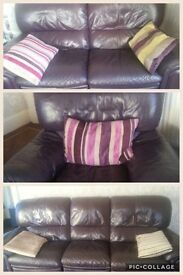 LEATHER SOFAS AND CHAIR -RECLINING - Littleborough area