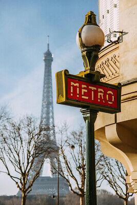 Paris Metro Eiffel Tower - Paris Metro Sign with Eiffel Tower in Background Photo Art Print Poster 12x18 in