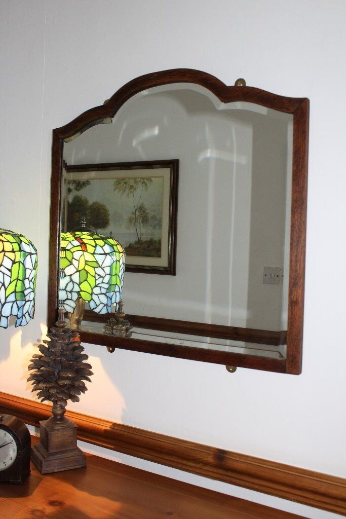 """C.1930s Vintage Wooden Frame Bevelled Edge Mirror (size approx.: 24"""" x 25"""")"""