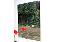 Wall Mirror: Plain, no frame; 28ins; (72cms) by 19ins; (49cms) and 2mm thick