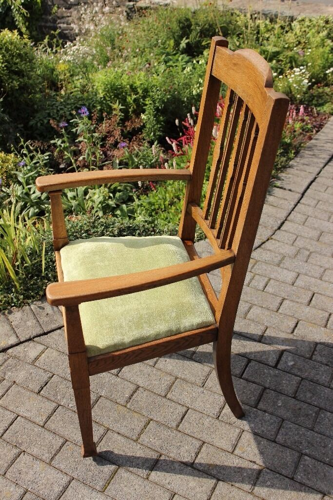 Art Deco style, oak carver chair with high back and upholstered seat. Good condition