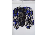 Oasis Black, Blue and White Floral Print Cropped Jacket