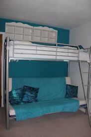 High Sleeper Bunk Bed with Double Futon below