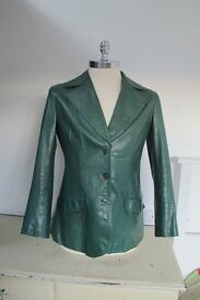 Leather Jacket, Ladies, bottle green, size 42