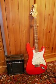 Encore Gloss Red Guitar and B.B. Blaster b10 Amplifier