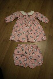 Rachel Riley Baby Girls' Pink Kitten Dress BNWT (size 6 months)