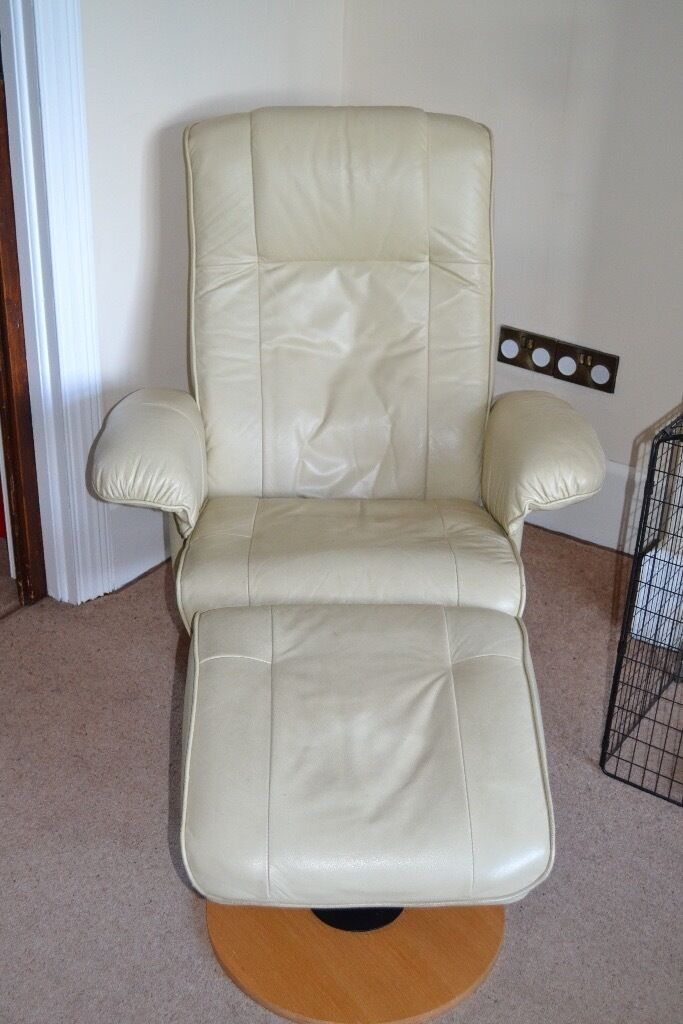 Cream Leather Reclining Reading Chair
