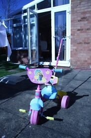 Girl's FiFi tricycle with pushing handle