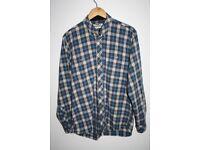 Barbour Designer Blue Check Men's Shirt Pure Quality Cotton Comfort Fit Size M